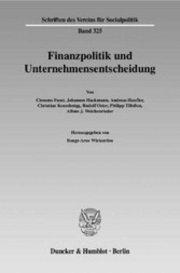 eBook Finanzpolitik und Unternehmensentscheidung. Cover