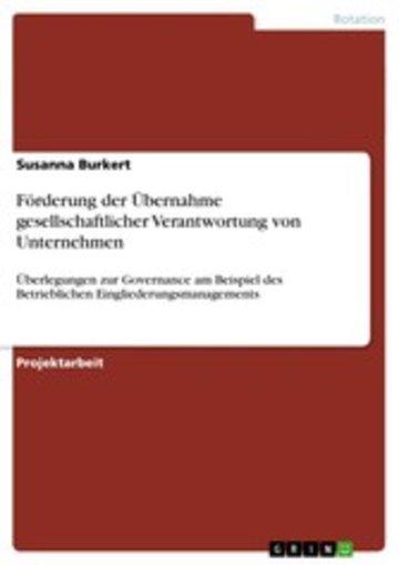 eBook Förderung der Übernahme gesellschaftlicher Verantwortung von Unternehmen Cover