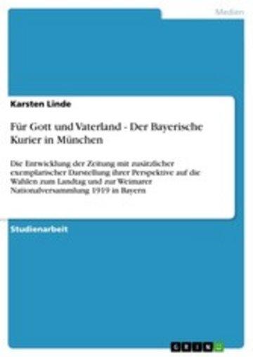 eBook Für Gott und Vaterland - Der Bayerische Kurier in München Cover