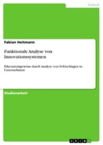 eBook Funktionale Analyse von Innovationssystemen Cover