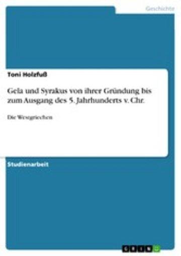 eBook Gela und Syrakus von ihrer Gründung bis zum Ausgang des 5. Jahrhunderts v. Chr. Cover
