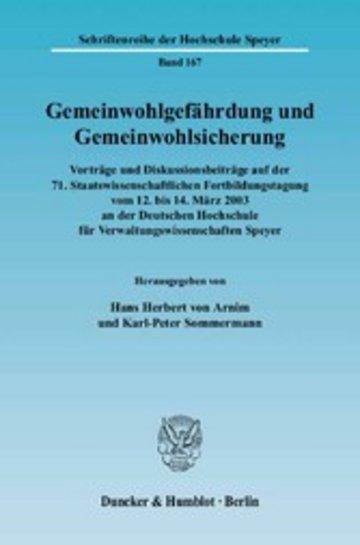eBook Gemeinwohlgefährdung und Gemeinwohlsicherung. Cover