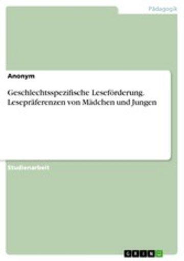 eBook Geschlechtsspezifische Leseförderung. Lesepräferenzen von Mädchen und Jungen Cover
