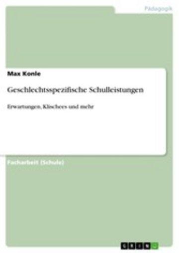 eBook Geschlechtsspezifische Schulleistungen Cover