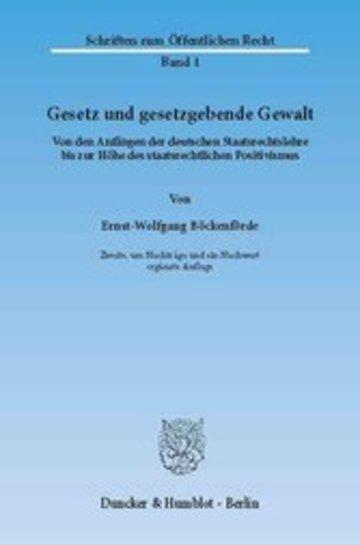 eBook Gesetz und gesetzgebende Gewalt. Cover