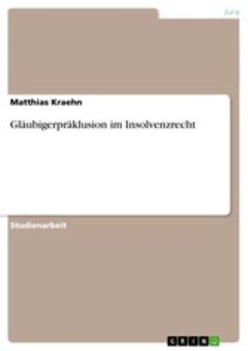 eBook Gläubigerpräklusion im Insolvenzrecht Cover