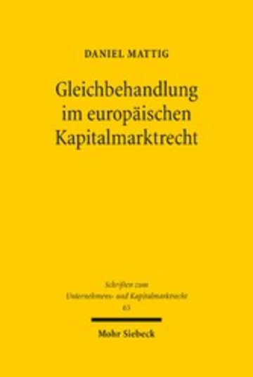 eBook Gleichbehandlung im europäischen Kapitalmarktrecht Cover