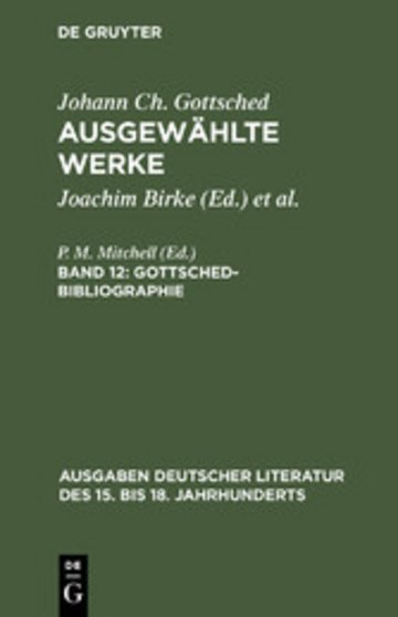 eBook Gottsched-Bibliographie Cover