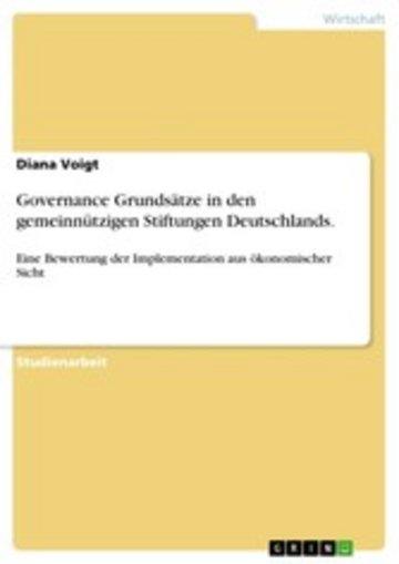 eBook Governance Grundsätze in den gemeinnützigen Stiftungen Deutschlands. Cover
