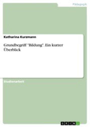 eBook Grundbegriff 'Bildung'. Ein kurzer Überblick Cover