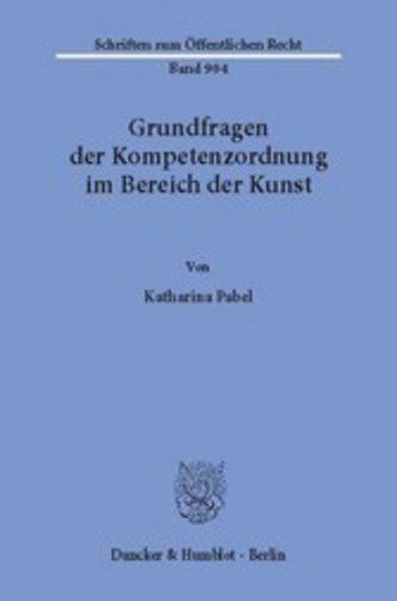 eBook Grundfragen der Kompetenzordnung im Bereich der Kunst. Cover