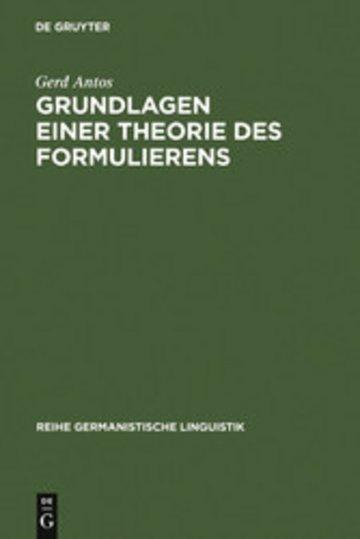eBook Grundlagen einer Theorie des Formulierens Cover