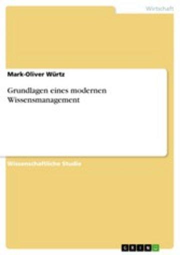 eBook Grundlagen eines modernen Wissensmanagement Cover