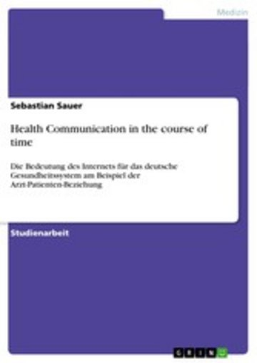 eBook Health Communication in the course of time Cover