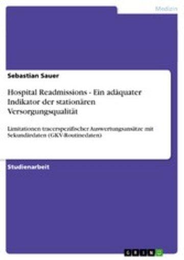 eBook Hospital Readmissions - Ein adäquater Indikator der stationären Versorgungsqualität Cover