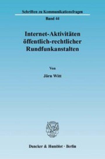 eBook Internet-Aktivitäten öffentlich-rechtlicher Rundfunkanstalten. Cover