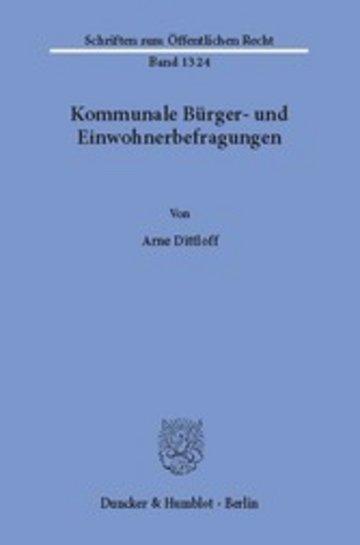 eBook Kommunale Bürger- und Einwohnerbefragungen. Cover