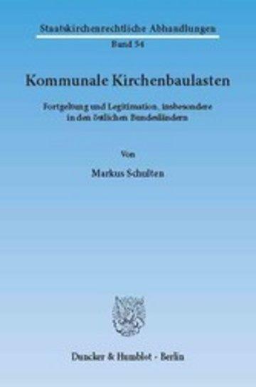 eBook Kommunale Kirchenbaulasten. Cover