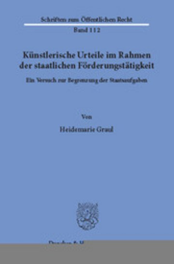eBook Künstlerische Urteile im Rahmen der staatlichen Förderungstätigkeit. Cover