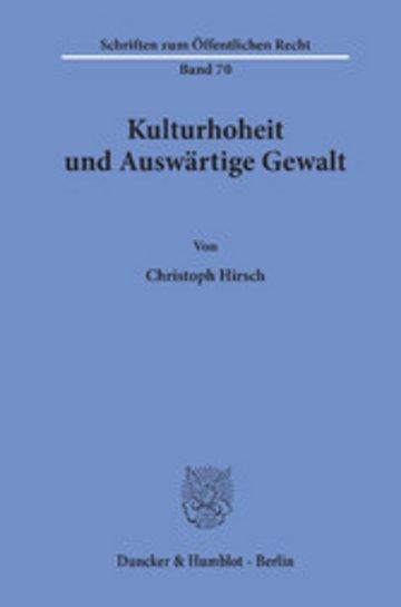eBook Kulturhoheit und Auswärtige Gewalt. Cover