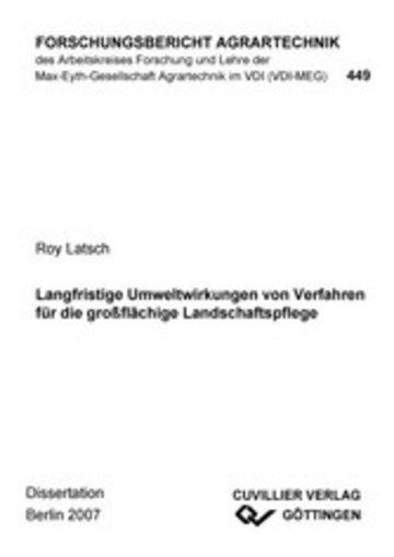 eBook Langfristige Umweltwirkungen von Verfahren für die großflächige Landschaftspflege Cover