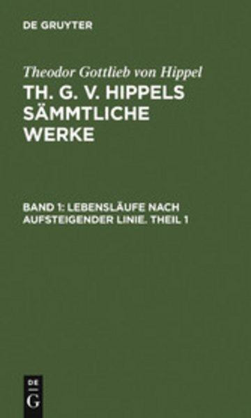 eBook Lebensläufe nach aufsteigender Linie. Theil 1 Cover