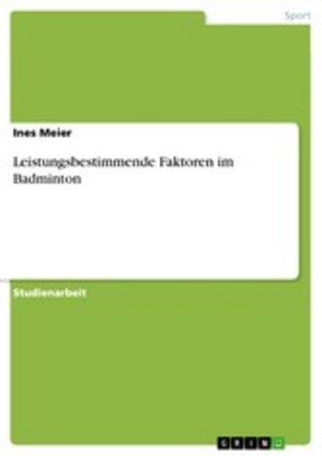 eBook Leistungsbestimmende Faktoren im Badminton Cover