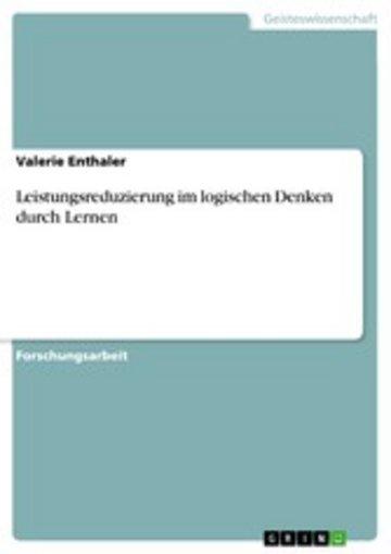 eBook Leistungsreduzierung im logischen Denken durch Lernen Cover