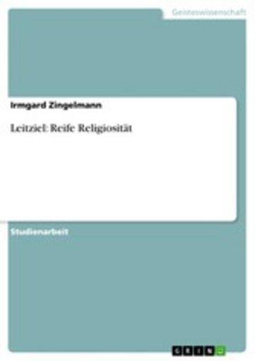 eBook Leitziel: Reife Religiosität bei der kindlichen Entwickung Cover