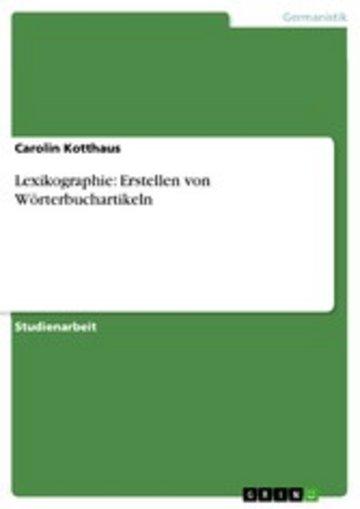 eBook Lexikographie: Erstellen von Wörterbuchartikeln Cover