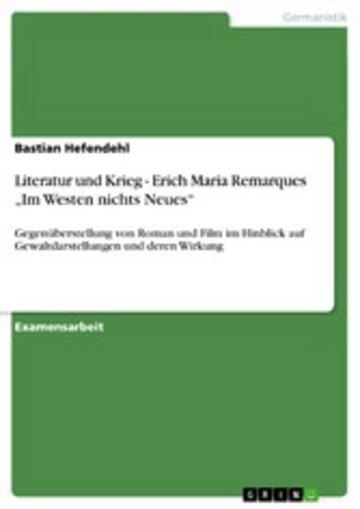 eBook Literatur und Krieg - Erich Maria Remarques 'Im Westen nichts Neues' Cover