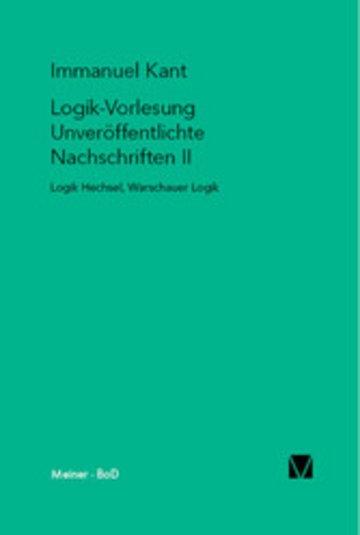eBook Logik-Vorlesung. Unveröffentlichte Nachschriften II Cover