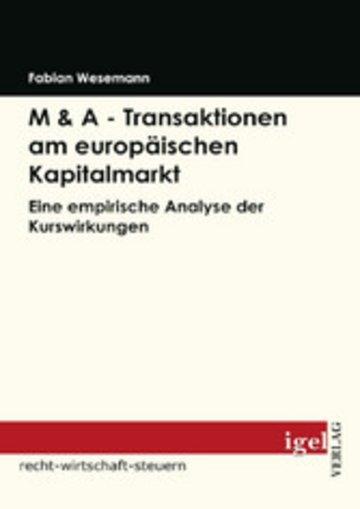 eBook M & A - Transaktionen am europäischen Kapitalmarkt Cover