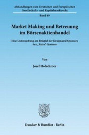 eBook Market Making und Betreuung im Börsenaktienhandel. Cover