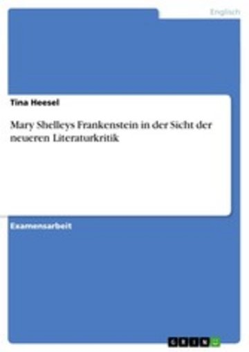 eBook Mary Shelleys Frankenstein in der Sicht der neueren Literaturkritik Cover
