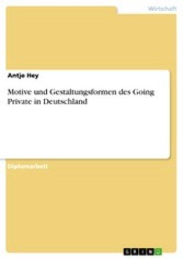 eBook Motive und Gestaltungsformen des Going Private in Deutschland Cover