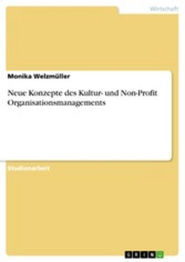 eBook Neue Konzepte des Kultur- und Non-Profit Organisationsmanagements Cover