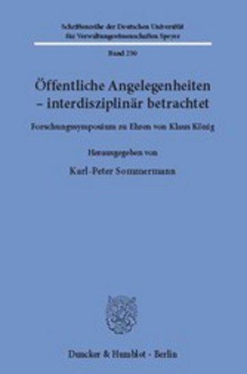 eBook Öffentliche Angelegenheiten - interdisziplinär betrachtet. Cover