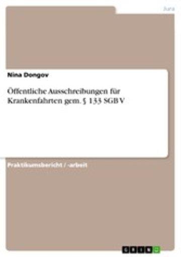 eBook Öffentliche Ausschreibungen für Krankenfahrten gem. § 133 SGB V Cover