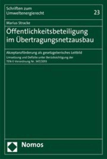 eBook Öffentlichkeitsbeteiligung im Übertragungsnetzausbau Cover