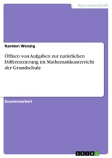 eBook Öffnen von Aufgaben zur natürlichen Differenzierung im Mathematikunterricht der Grundschule Cover