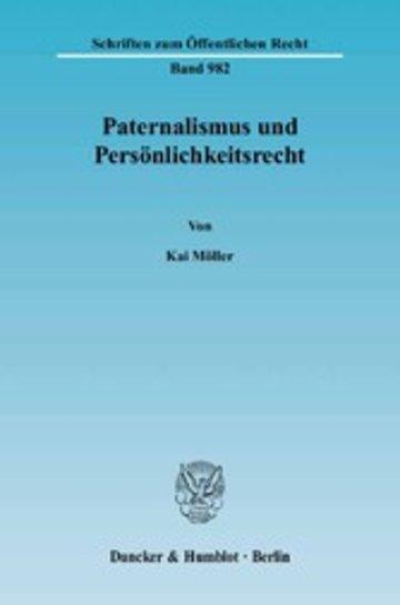 eBook Paternalismus und Persönlichkeitsrecht. Cover