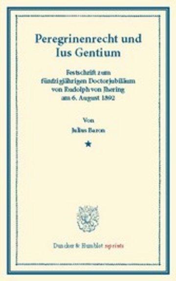 eBook Peregrinenrecht und Ius Gentium. Cover
