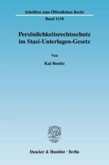 eBook Persönlichkeitsrechtsschutz im Stasi-Unterlagen-Gesetz. Cover