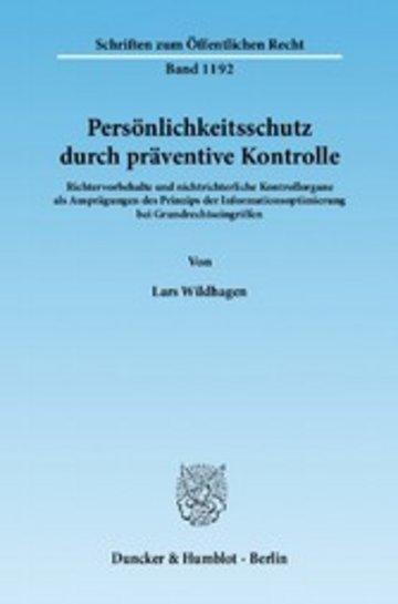 eBook Persönlichkeitsschutz durch präventive Kontrolle. Cover