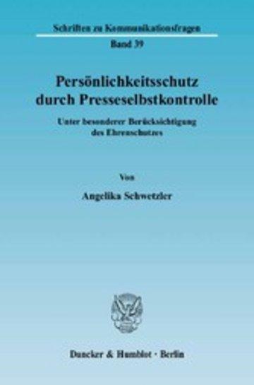 eBook Persönlichkeitsschutz durch Presseselbstkontrolle. Cover
