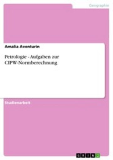 eBook Petrologie - Aufgaben zur CIPW-Normberechnung Cover