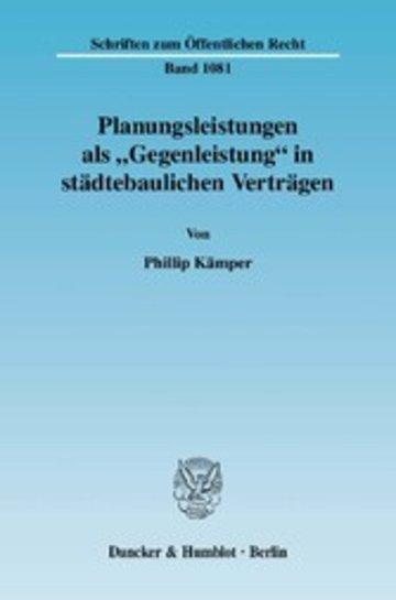 eBook Planungsleistungen als 'Gegenleistung' in städtebaulichen Verträgen. Cover