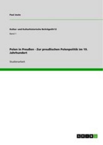eBook Polen in Preußen - Zur preußischen Polenpolitik im 19. Jahrhundert Cover