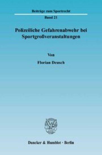 eBook Polizeiliche Gefahrenabwehr bei Sportgroßveranstaltungen. Cover